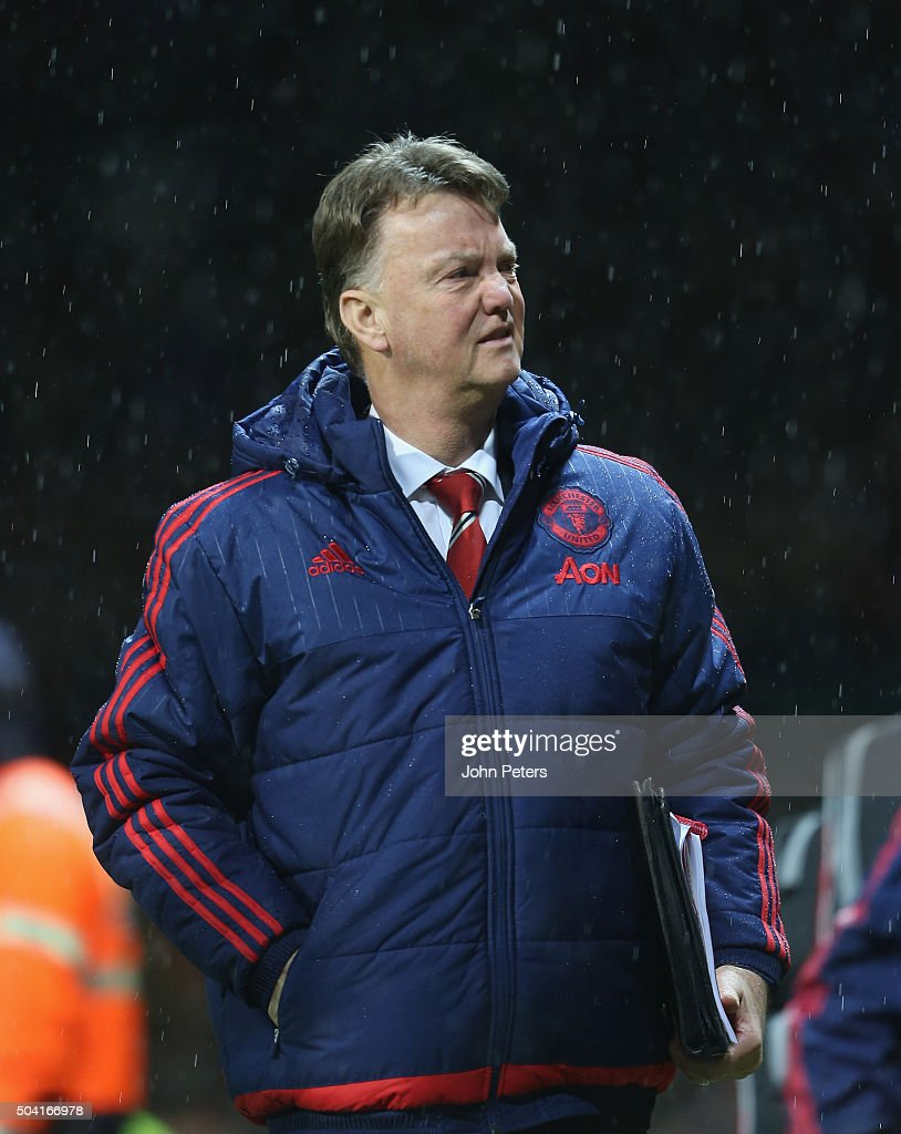 Manager Louis van Gaal of Manchester United walks off after the Emirates FA Cup Third Round match between Manchester United and Sheffield United at Old Trafford on January 9, 2016 in Manchester, England.