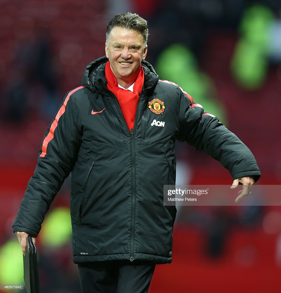 Manager Louis van Gaal of Manchester United walks off after the Barclays Premier League match between Manchester United and Leicester City at Old Trafford on January 31, 2015 in Manchester, England.