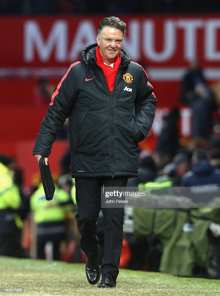 Manager Louis van Gaal of Manchester United walks off after the Barclays Premier League match between Manchester United and Leicester City at Old Trafford on January 31, 2015 Manchester, England.