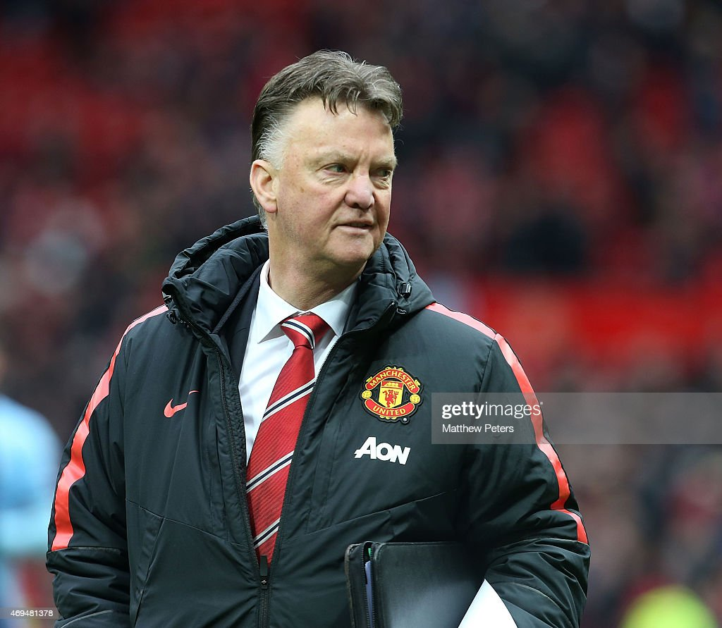 Manager Louis van Gaal of Manchester United walks off after the Barclays Premier League match between Manchester United and Manchester City at Old Trafford on April 12, 2015 in Manchester, England.