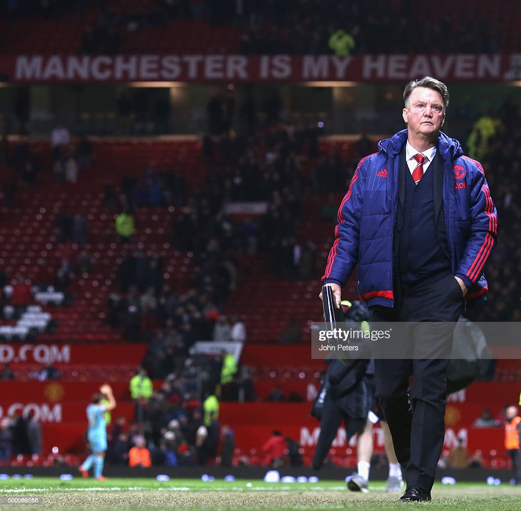 Manager Louis van Gaal of Manchester United walks off after the Barclays Premier League match between Manchester United and West Ham United at Old Trafford on December 05, 2015 in Manchester, England.