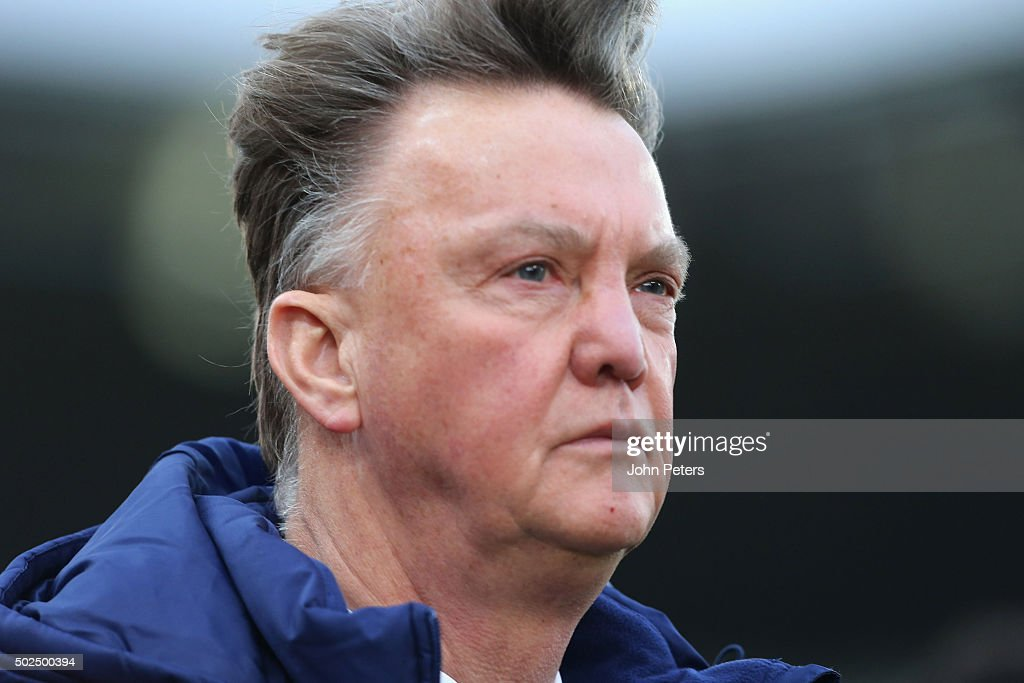 Manager Louis van Gaal of Manchester United walks off after the Barclays Premier League match between Stoke City and Manchester United at Britannia Stadium on December 26, 2015 in Stoke on Trent, England.