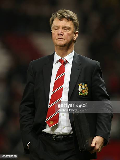 Manager Louis van Gaal of Manchester United walks off after the Barclays Premier League match between Manchester United and Chelsea at Old Trafford...