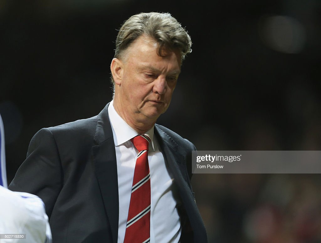 Manager Louis van Gaal of Manchester United walks off after the Barclays Premier League match between Manchester United and Chelsea at Old Trafford on December 28, 2015 in Manchester, England.