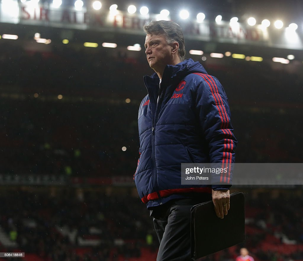 Manager Louis van Gaal of Manchester United walks off after the Barclays Premier League match between Manchester United and Jose Fonte at Old Trafford on January 23, 2016 in Manchester, England.