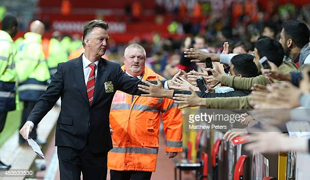 Manager Louis van Gaal of Manchester United walks off after the Pre Season Friendly match between Manchester United and Valencia at Old Trafford on...