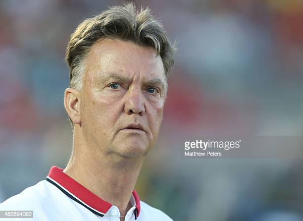 Manager Louis van Gaal of Manchester United watches from the bench during the preseason friendly match between LA Galaxy and Manchester United at...