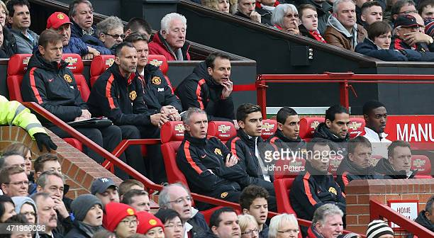 Manager Louis van Gaal of Manchester United watches from the bench during the Barclays Premier League match between Manchester United and West...