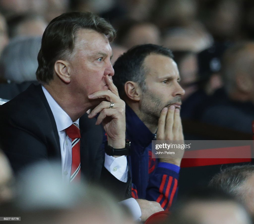 Manager Louis van Gaal of Manchester United watches from the bench during the Barclays Premier League match between Manchester United and Chelsea at Old Trafford on December 28, 2015 in Manchester, England.