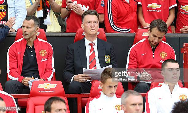 Manager Louis van Gaal of Manchester United watches from the dugout during the Pre Season Friendly match between Manchester United and Valencia at...