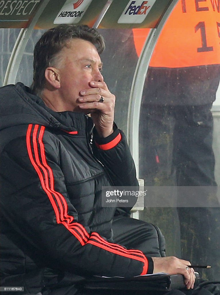 Manager Louis van Gaal of Manchester United watches from the dugout during the UEFA Europe League match between FC Midtjylland and Manchester United on February 18, 2016 at MCH Arena in Herning, Denmark.