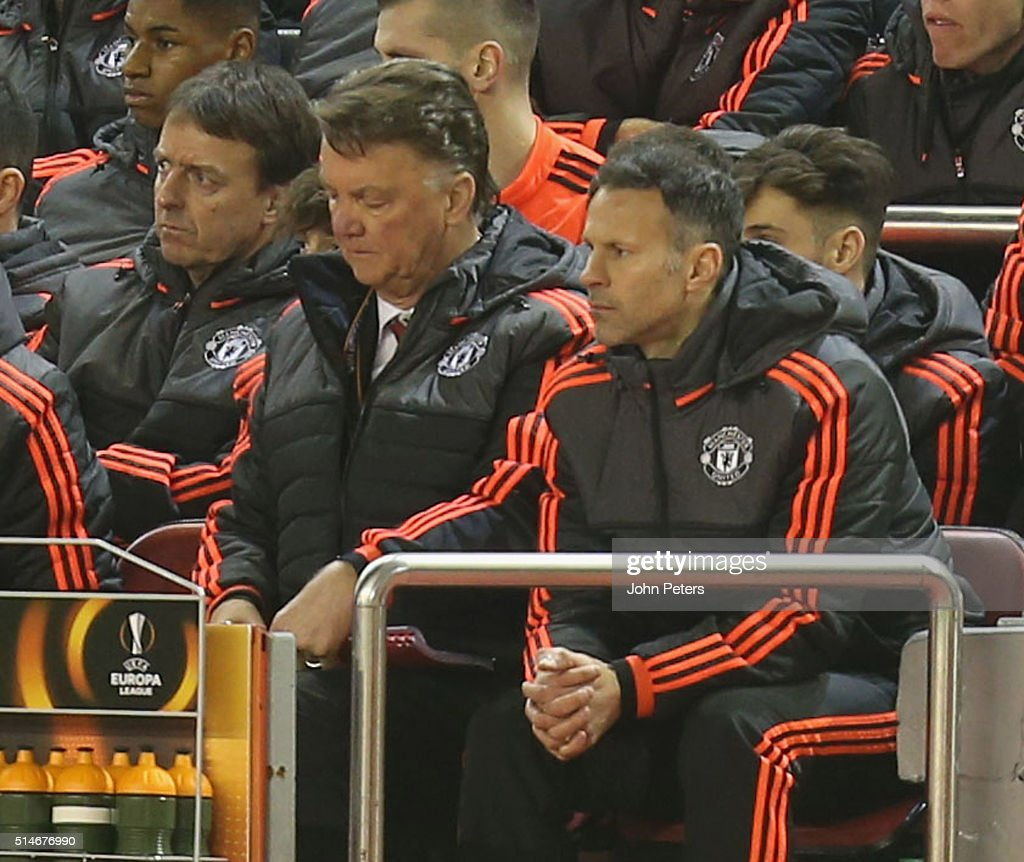 Manager Louis van Gaal of Manchester United watches from the dugout during the UEFA Europa League round of 16 first leg match between Liverpool and Manchester United at Anfield on March 10, 2016 in Liverpool, United Kingdom.