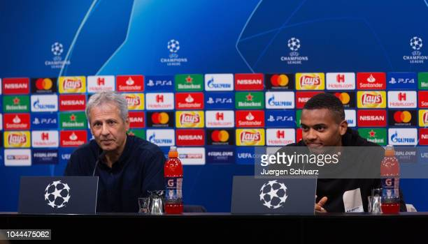 Manager Lucien Favre of Borussia Dortmund and Manuel Akanji attend a news conference on October 2 2018 in Dortmund Germany Borussia Dortmund will...