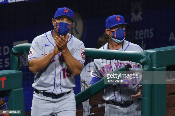 Manager Luis Rojas and bench coach Dave Jauss of the New York Mets in action against the Philadelphia Phillies during a game at Citizens Bank Park on...