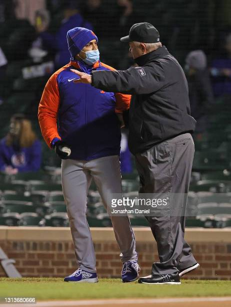 Manager Luis Rojas of the New York Mets argues with umpire Joe West during a game against the Chicago Cubs at Wrigley Field on April 20, 2021 in...