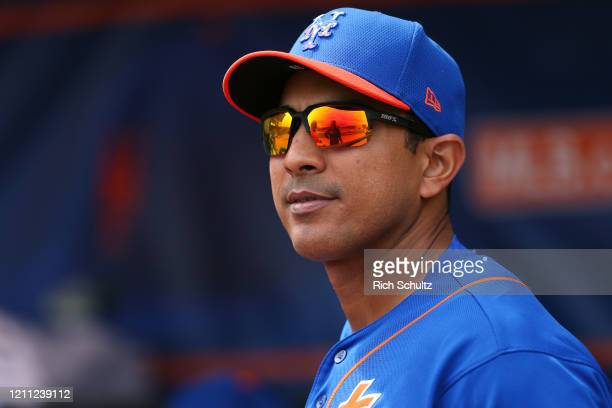 Manager Luis Rojas of the New York Mets before a spring training baseball game against the Houston Astros at Clover Park on March 8 2020 in Port St...
