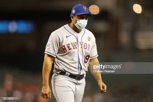 Manager Luis Rojas of the New York Mets during the MLB game against the Arizona Diamondbacks at Chase Field on May 31, 2021 in Phoenix, Arizona.