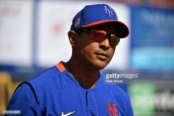 Manager Luis Rojas of the New York Mets during the team workout at Clover Park on February 20 2020 in Port St Lucie Florida