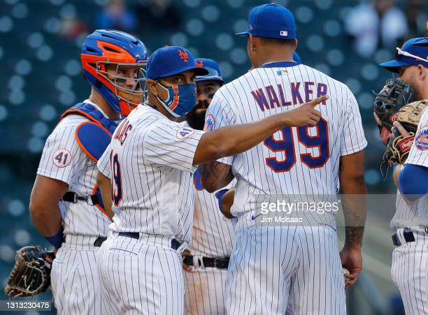 Manager Luis Rojas of the New York Mets in action against the Philadelphia Phillies at Citi Field on April 13, 2021 in New York City. The Mets...