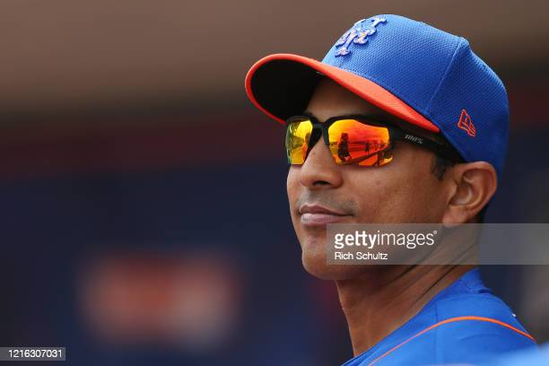 Manager Luis Rojas of the New York Mets in action against the Houston Astros during a spring training baseball game at Clover Park on March 8 2020 in...
