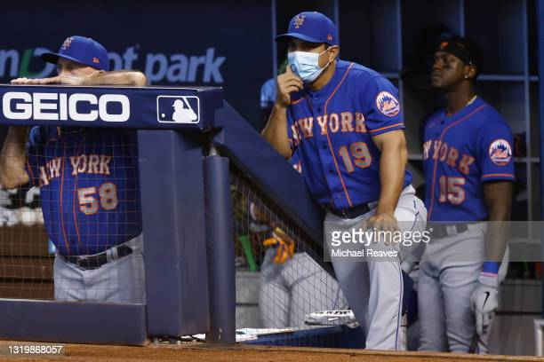Manager Luis Rojas of the New York Mets looks on against the Miami Marlins during the first inning at loanDepot park on May 23, 2021 in Miami,...