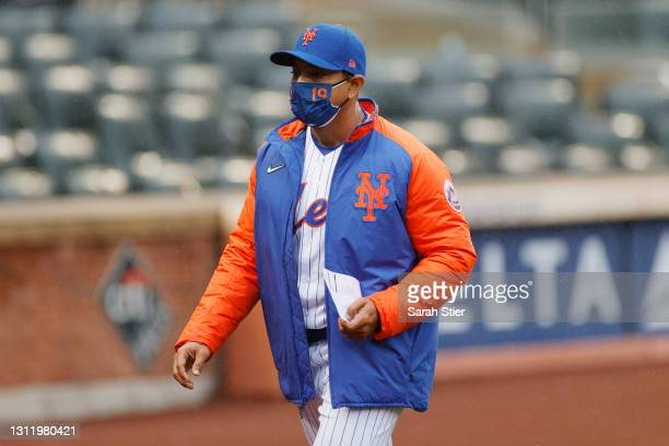 Manager Luis Rojas of the New York Mets looks on before the first inning against the Miami Marlins at Citi Field on April 11, 2021 in the Queens...