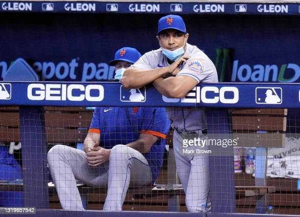 Manager Luis Rojas of the New York Mets looks on from the dugout during the game against the Miami Marlins at loanDepot park on May 22, 2021 in...