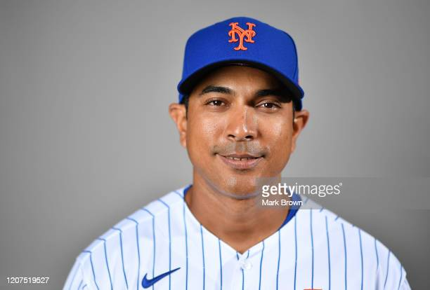Manager Luis Rojas of the New York Mets poses for a photo during Photo Day at Clover Park on February 20 2020 in Port St Lucie Florida