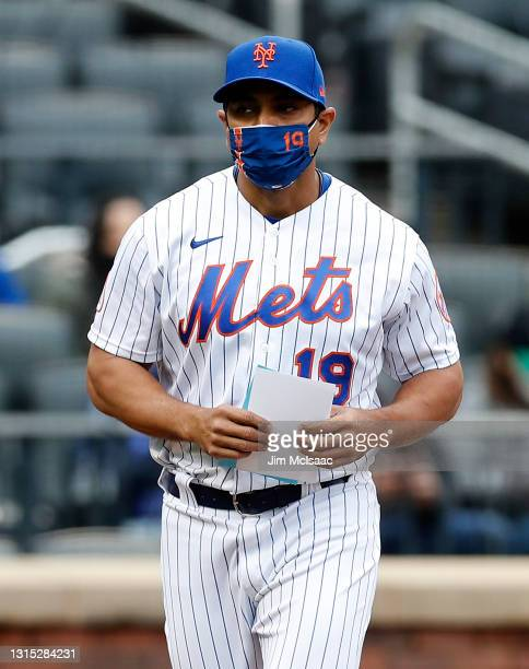 Manager Luis Rojas of the New York Mets prepares for a game against the Washington Nationals at Citi Field on April 25, 2021 in New York City. The...