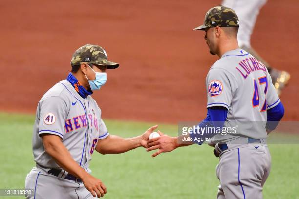 Manager Luis Rojas of the New York Mets relieves Joey Lucchesi in the fourth inning at Tropicana Field on May 15, 2021 in St Petersburg, Florida.