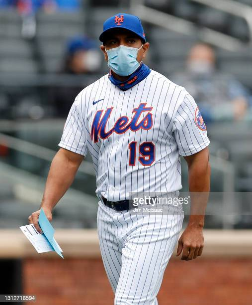 Manager Luis Rojas of the New York Mets walks on the field before a game against the Miami Marlins at Citi Field on April 10, 2021 in New York City....
