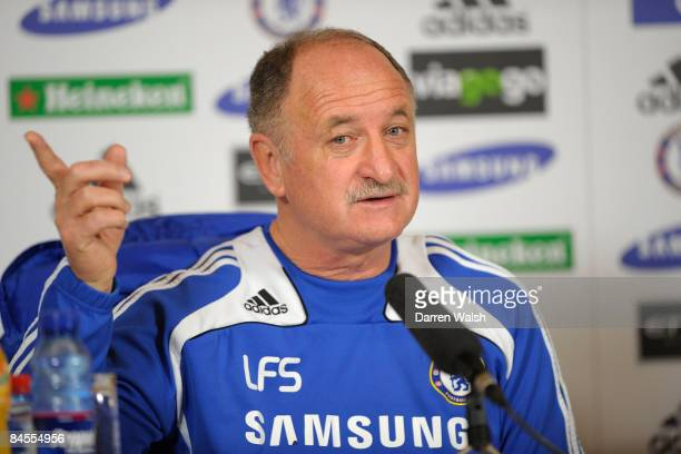 Manager Luiz Felipe Scolari of Chelsea speaks to the media during a press conference at the Chelsea FC training ground on January 30, 2009 in Cobham,...