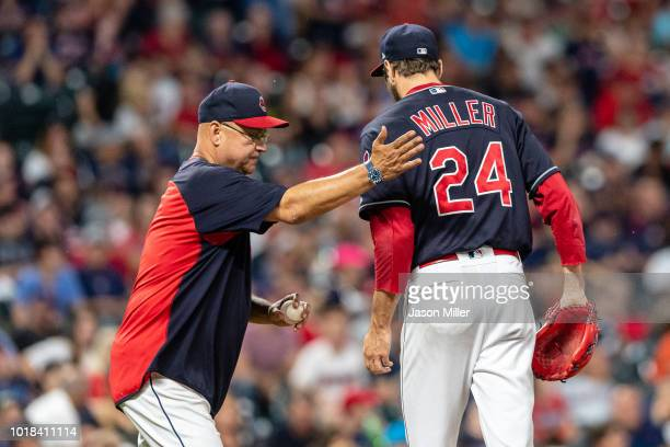 Manager manager Terry Francona removes relief pitcher Andrew Miller of the Cleveland Indians from the game during the seventh inning against the...