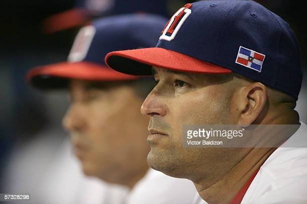 Manager Manny Acta of the Dominican Republic is pictured during the game against Venezuela on March 14 2006 at Hiram Bithorn Stadium in San Juan...