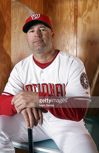 Manager Manny Acta of the Washington Nationals poses during Photo Day on February 25 2007 at Space Coast stadium in Viera Florida