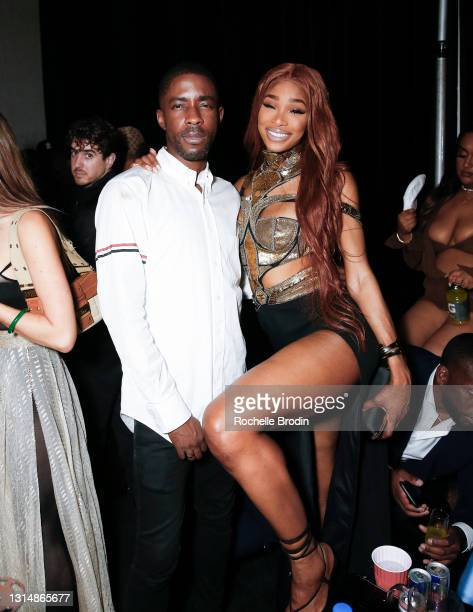 Manager Manny Ezugwu and model Shannon Hamilton attend Darren Dzienciol & Richie Akiva's Oscar Party 2021 on April 25, 2021 in Bel Air, California.