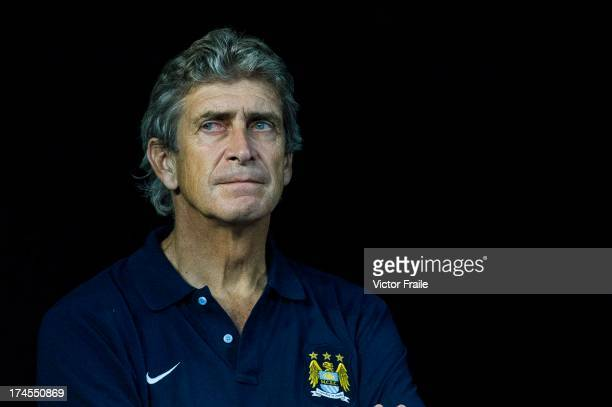 Manager Manuel Pellegrini of Manchester City looks before the Barclays Asia Trophy Final match between Manchester City and Sunderland at Hong Kong...