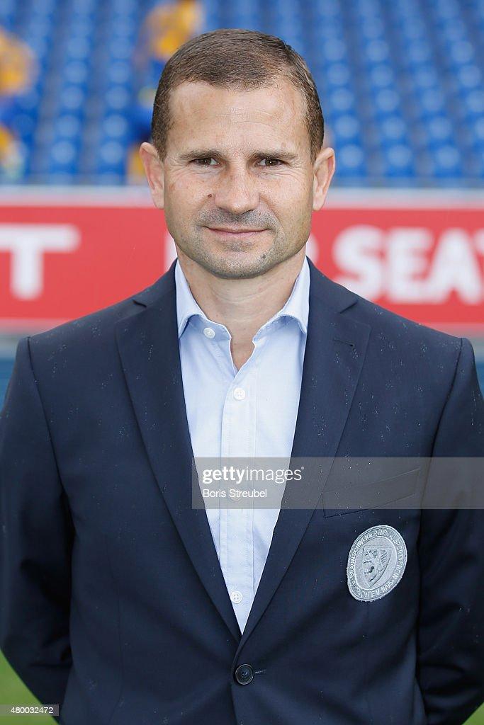 Manager Marc Arnold poses during the Eintracht Braunschweig team presentation at Eintracht Stadion on July 9, 2015 in Braunschweig, Germany.