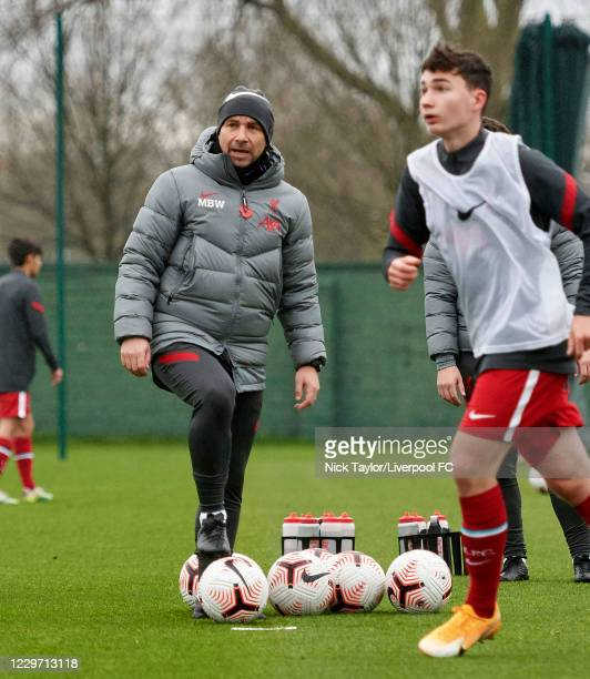 Manager Marc Bridge-Wilkinson of Liverpool at Melwood Training Ground on November 21, 2020 in Liverpool, England.