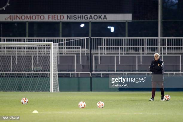 Manager Marcello Lippi of China attends training before the EAFF E1 Men's Football Championship between South Korea and China at Nishigaoka Soccer...