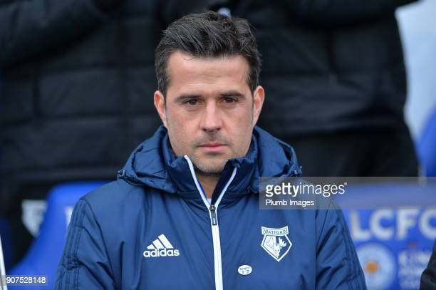 Manager Marco Silva of Watford at King Power Stadium ahead of the Premier League match between Leicester City and Watford at King Power Stadium on...