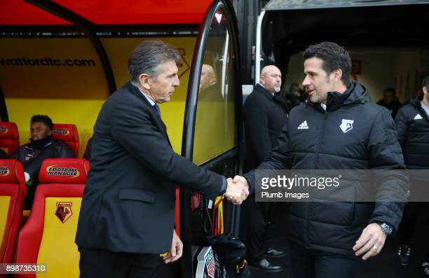 Manager Marco Silva of Watford welcomes Manager Claude Puel of Leicester City to Vicarage Road ahead of the Premier League match between Watford and...