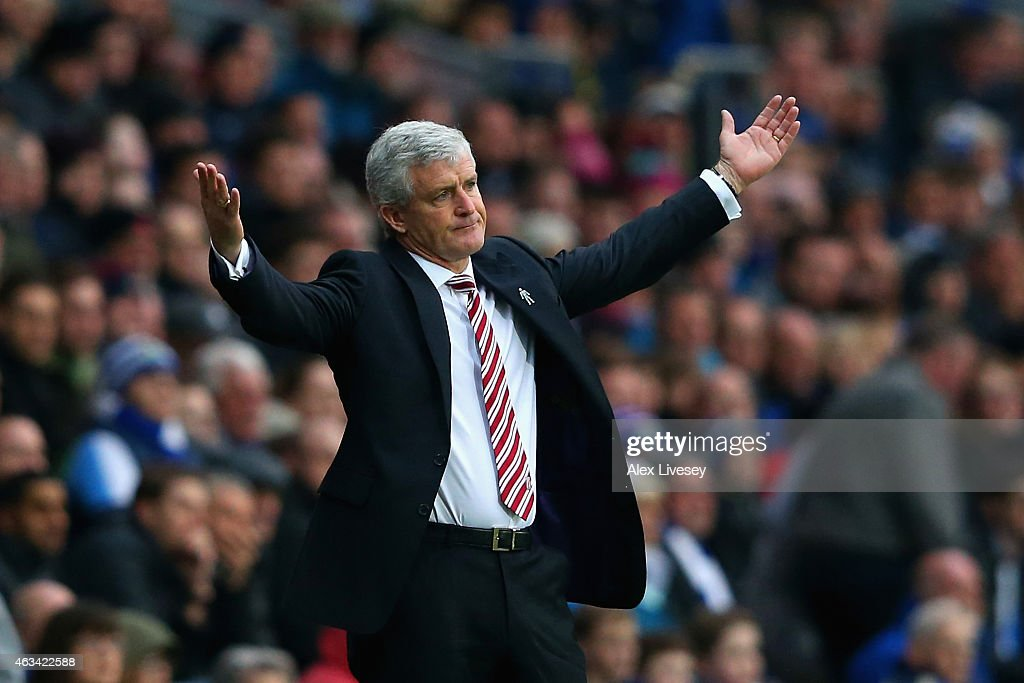Manager Mark Hughes of Stoke City reacts during the FA Cup Fifth Round match between Blackburn Rovers and Stoke City at Ewood park on February 14, 2015 in Blackburn, England.