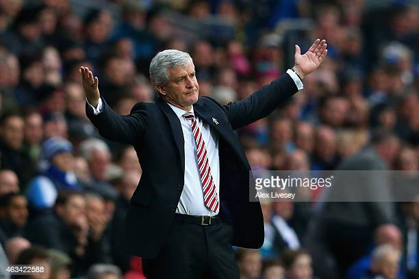 Manager Mark Hughes of Stoke City reacts during the FA Cup Fifth Round match between Blackburn Rovers and Stoke City at Ewood park on February 14...