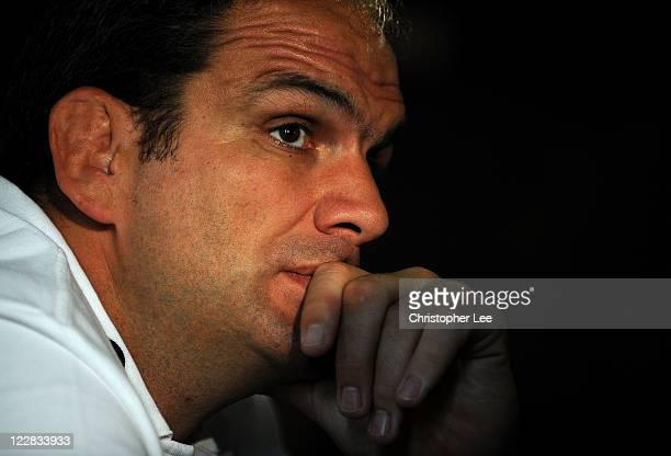 Manager Martin Johnson of England talks to the media during the England Rugby Team Departure Press Conference at Pennyhill Park on August 29 2011 in...