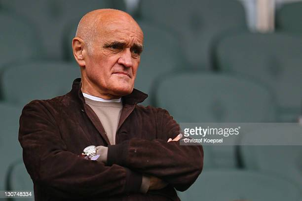 Manager Martin Kind of Hannover looks on prior to the Bundesliga match between Borussia Moenchengladbach and Hannover 96 at Borussia Park Stadium on...