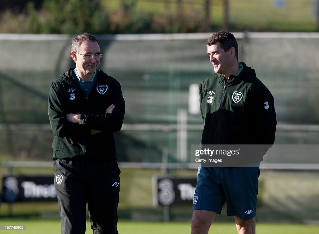 Manager Martin O'Neill and assistant manager Roy Keane of Republic of Ireland chat during a training session at Gannon Park on November 12, 2013 in Dublin, Ireland.