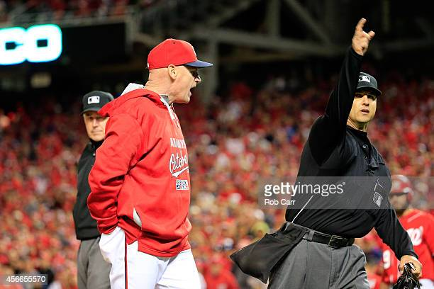Manager Matt Williams of the Washington Nationals gets ejected by home plate umpire Vic Carapazza after arguing a Asdrubal Cabrera strike call in the...