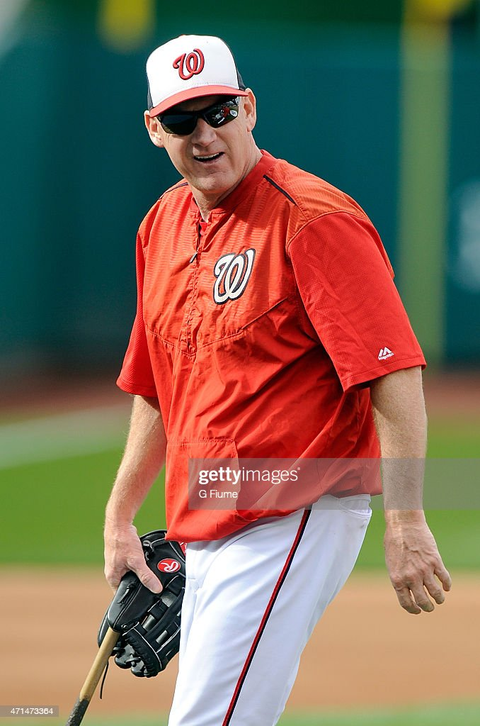 Manager Matt Williams #9 of the Washington Nationals watches batting practice before the game against the Philadelphia Phillies at Nationals Park on April 16, 2015 in Washington, DC.