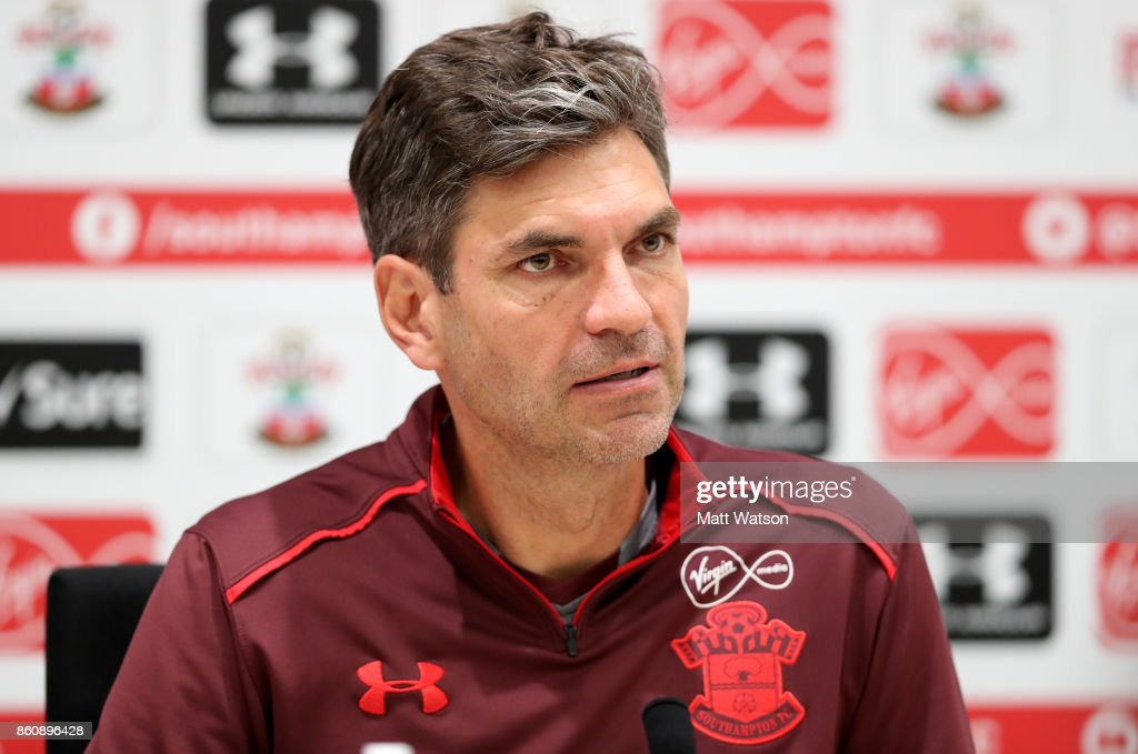 manager Mauricio Pellegrino during a Southampton FC press conference at the Staplewood Campus on October 13, 2017 in Southampton, England.